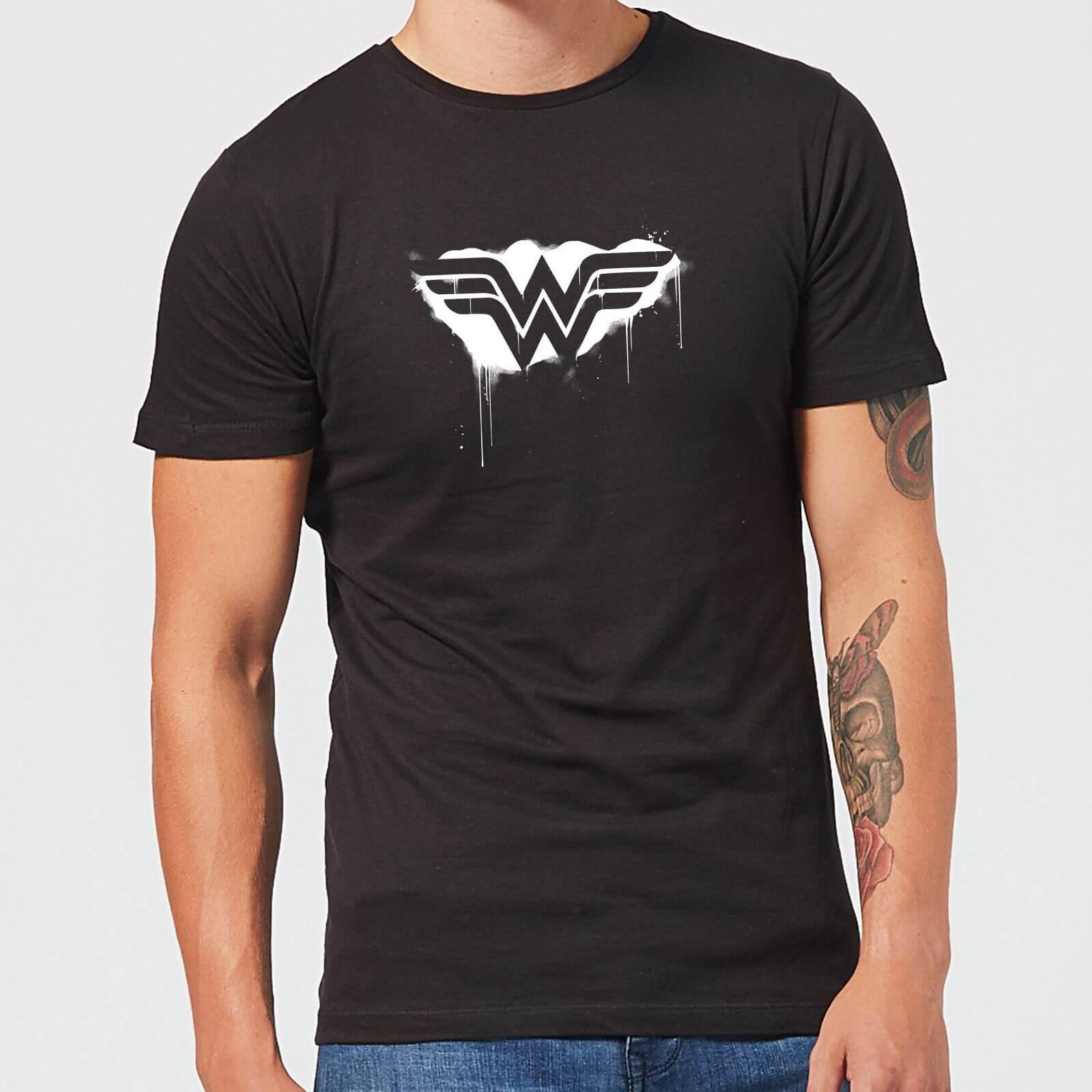 Justice League Graffiti Wonder Woman Men's T-Shirt - Black - 5XL - Black