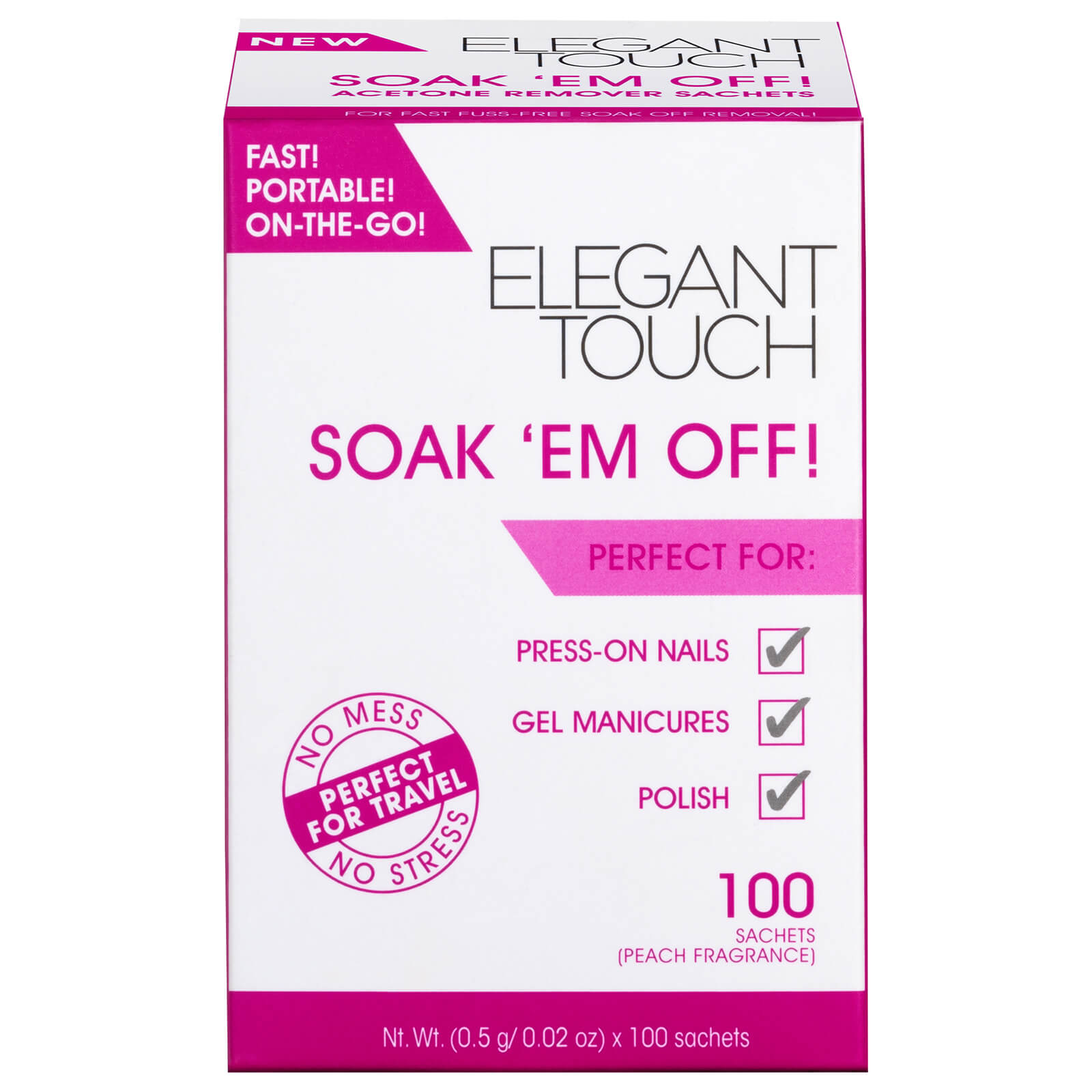 Elegant Touch Soak 'Em off! Nail Polish Remover (100 Sachets)