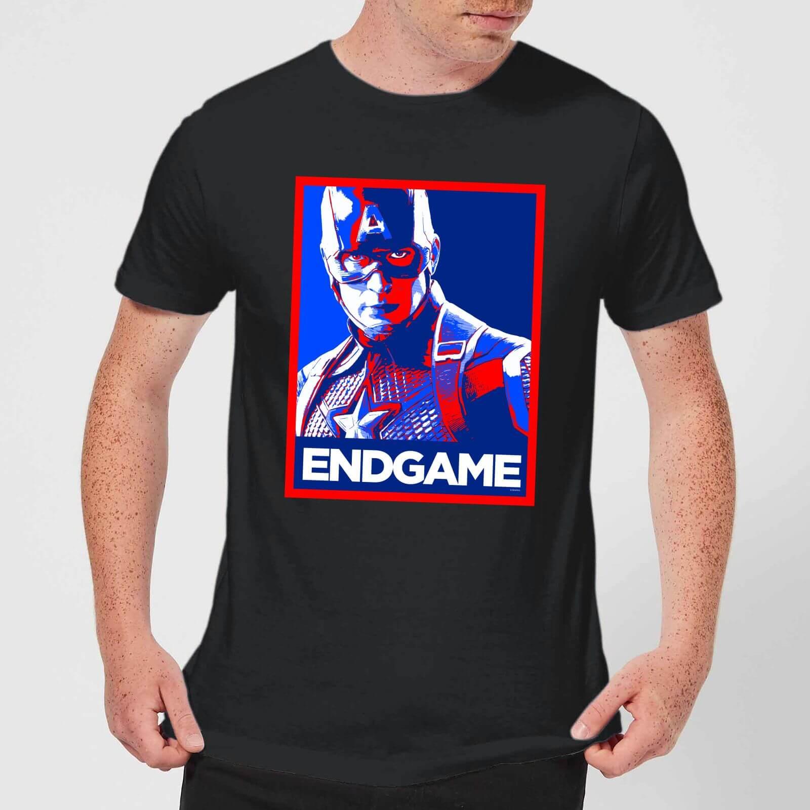 Marvel Avengers Endgame Captain America Poster Men's T-Shirt - Black - XL - Black