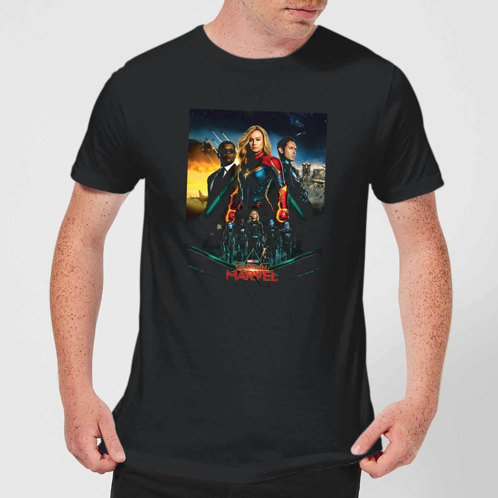 Captain Marvel Movie Starforce Poster Men's T-Shirt - Black - 4XL - Schwarz
