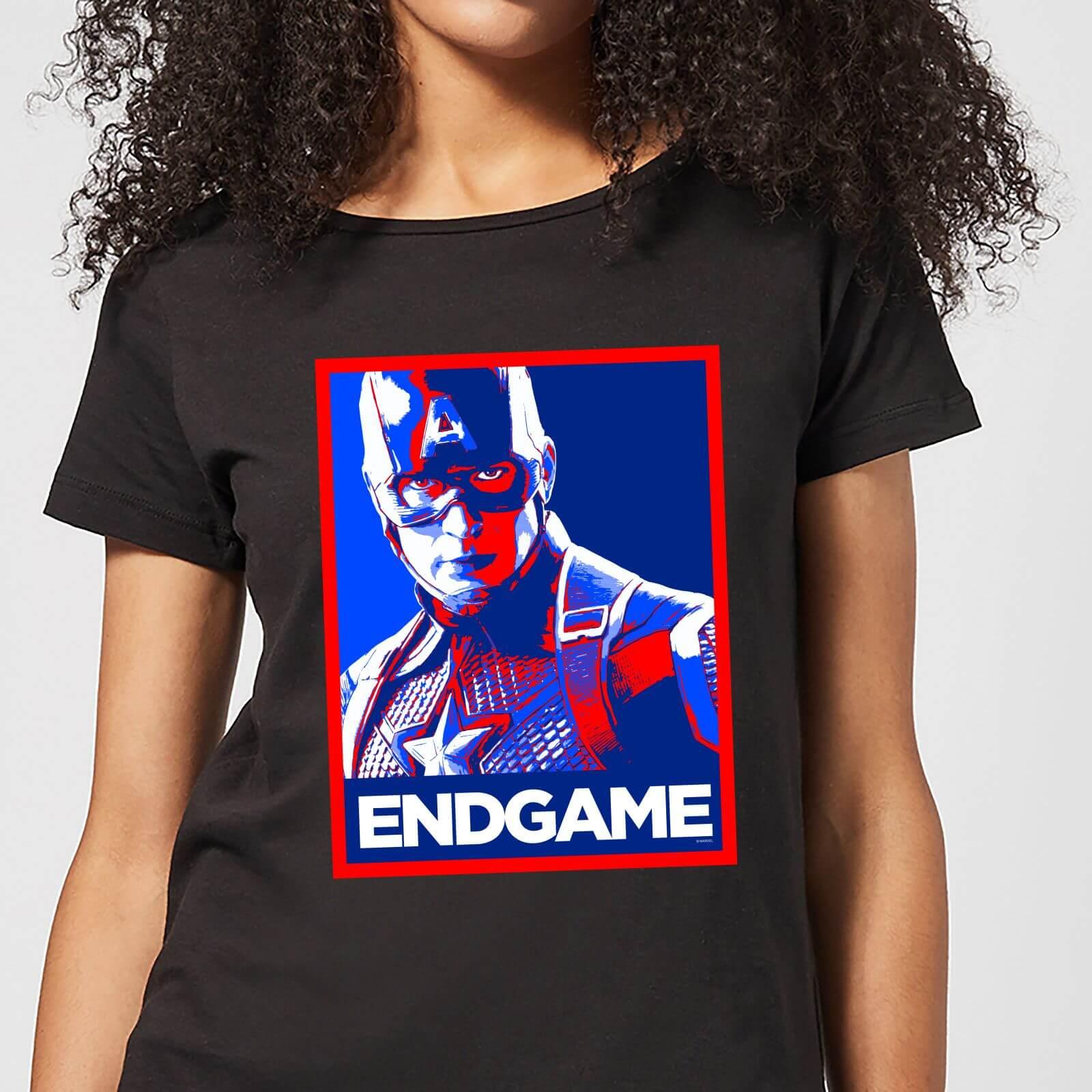 Marvel Avengers Endgame Captain America Poster Women's T-Shirt - Black - L - Black