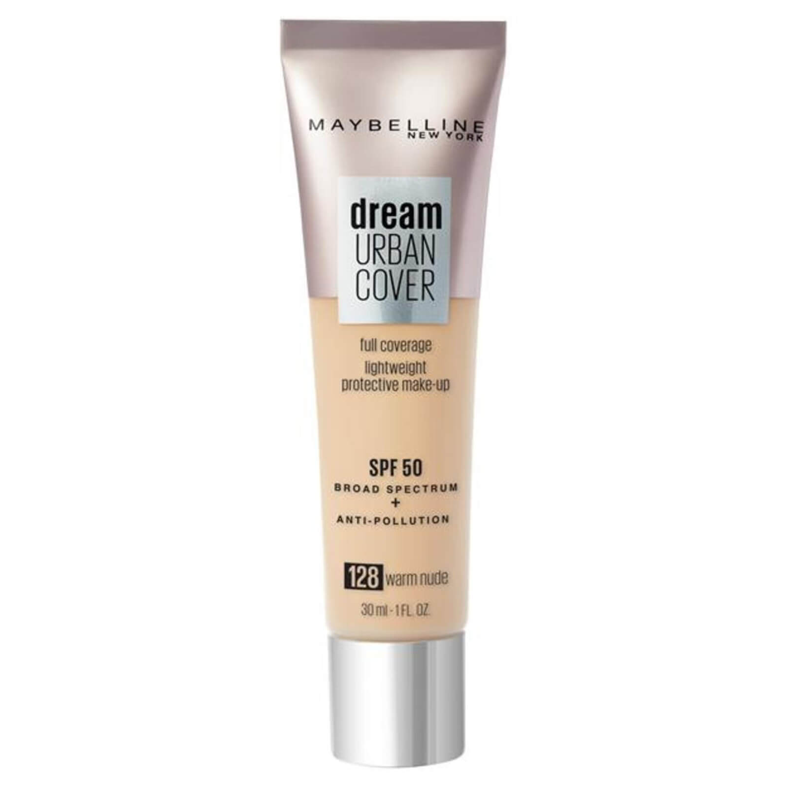 Maybelline Dream Urban Cover SPF50 Foundation 121ml (Various Shades) - 128 Warm Nude