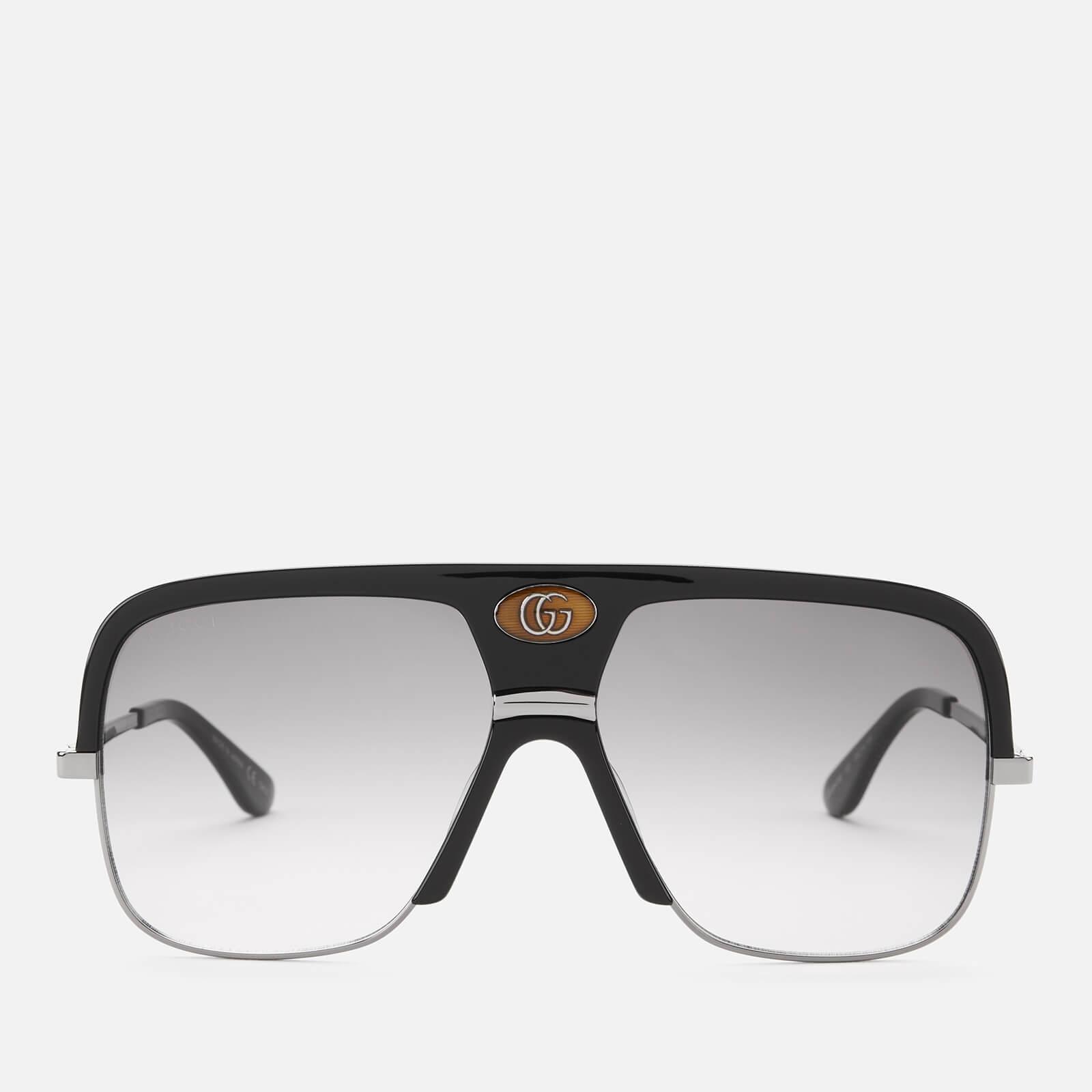 Gucci Men's Square Frame Metal/Acetate Sunglasses - Black/Grey