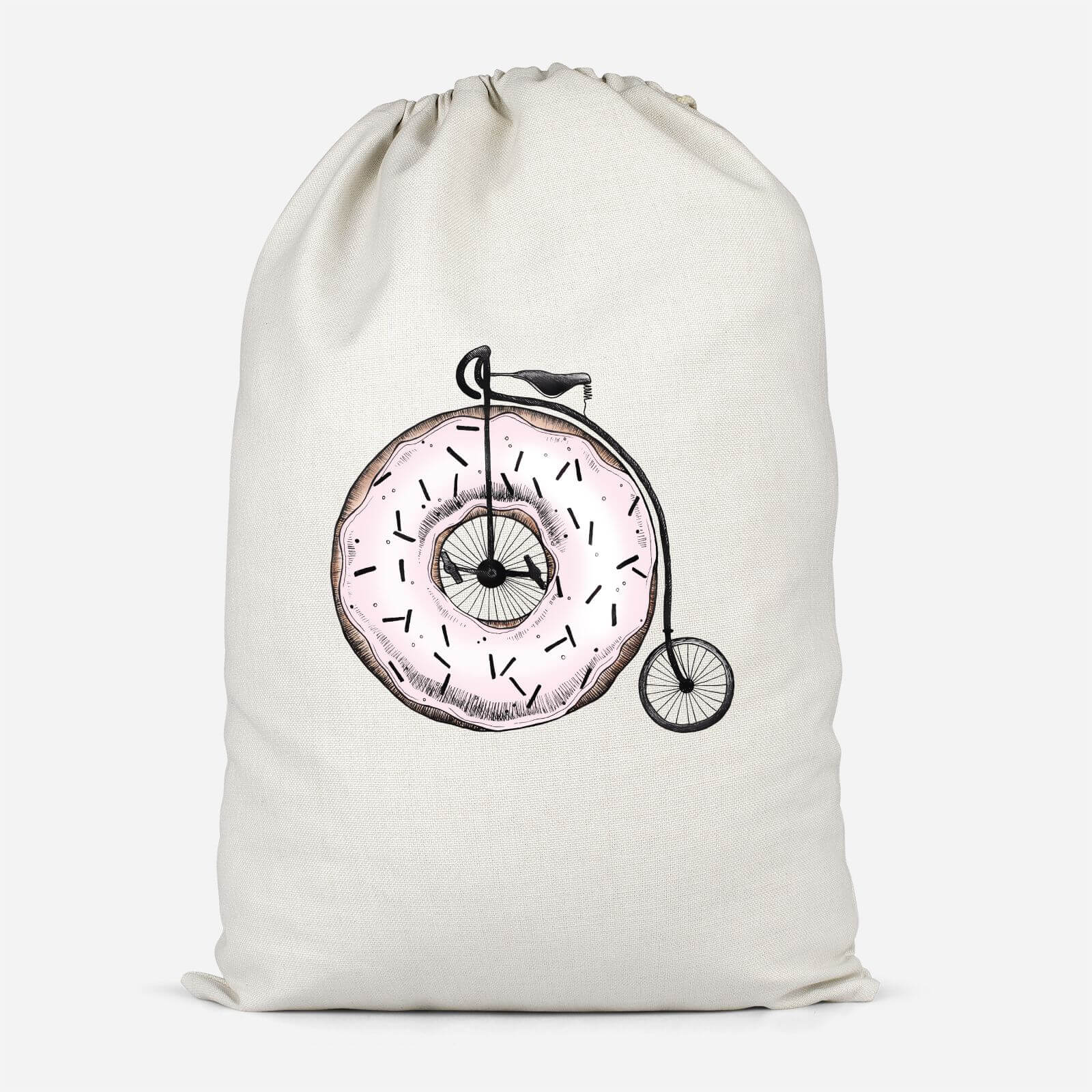 Donut Ride My Bicycle Cotton Storage Bag   Small