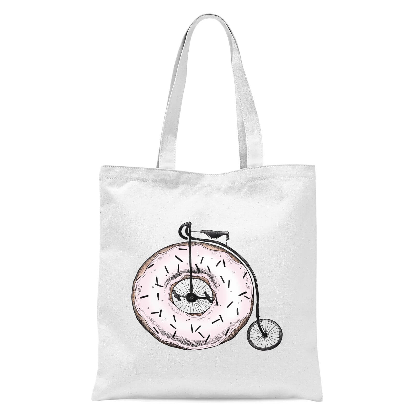 Donut Ride My Bicycle Tote Bag   White