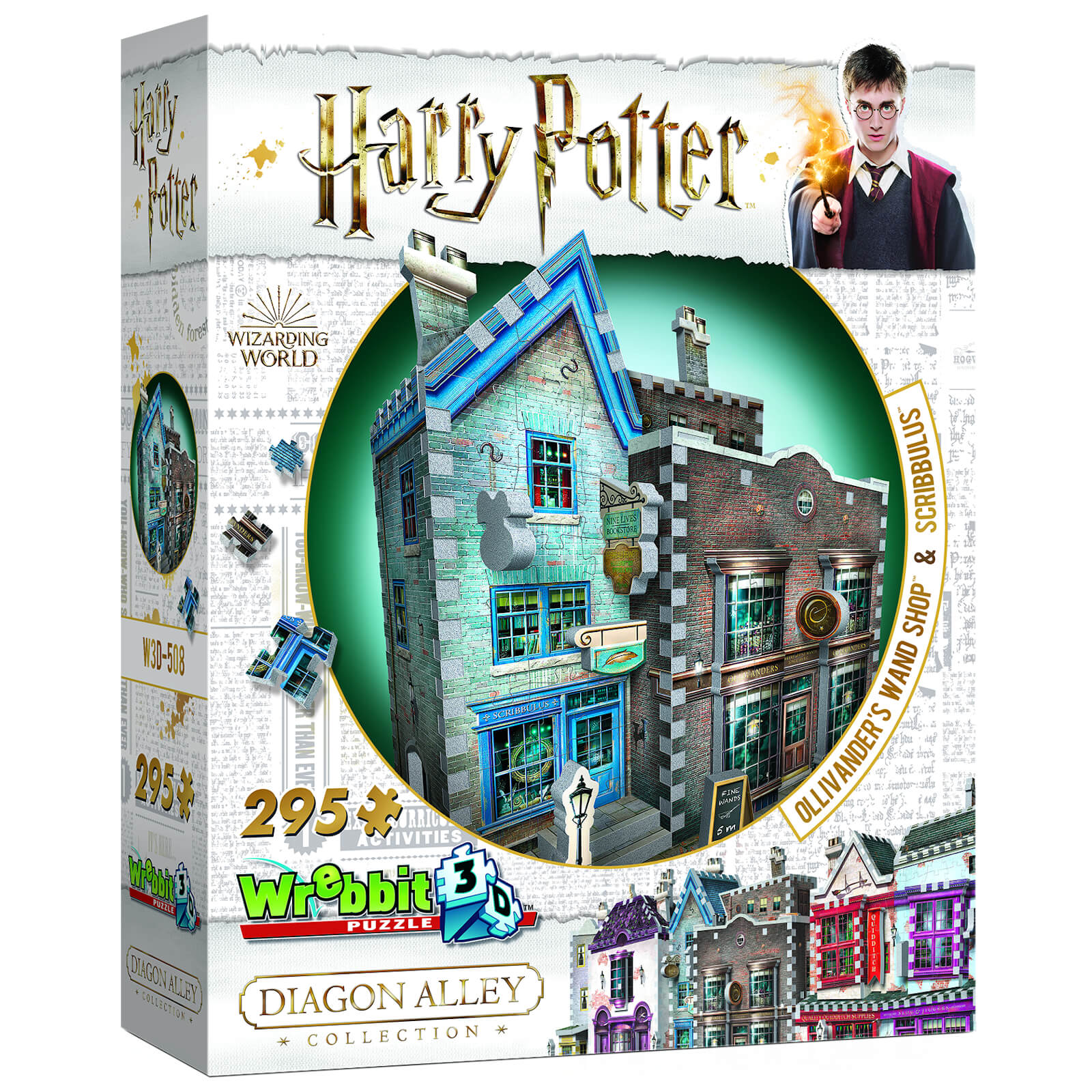 Image of Harry Potter Diagon Alley Collection Ollivander's Wand Shop and Scribbulus 3D Puzzle (295 Pieces)