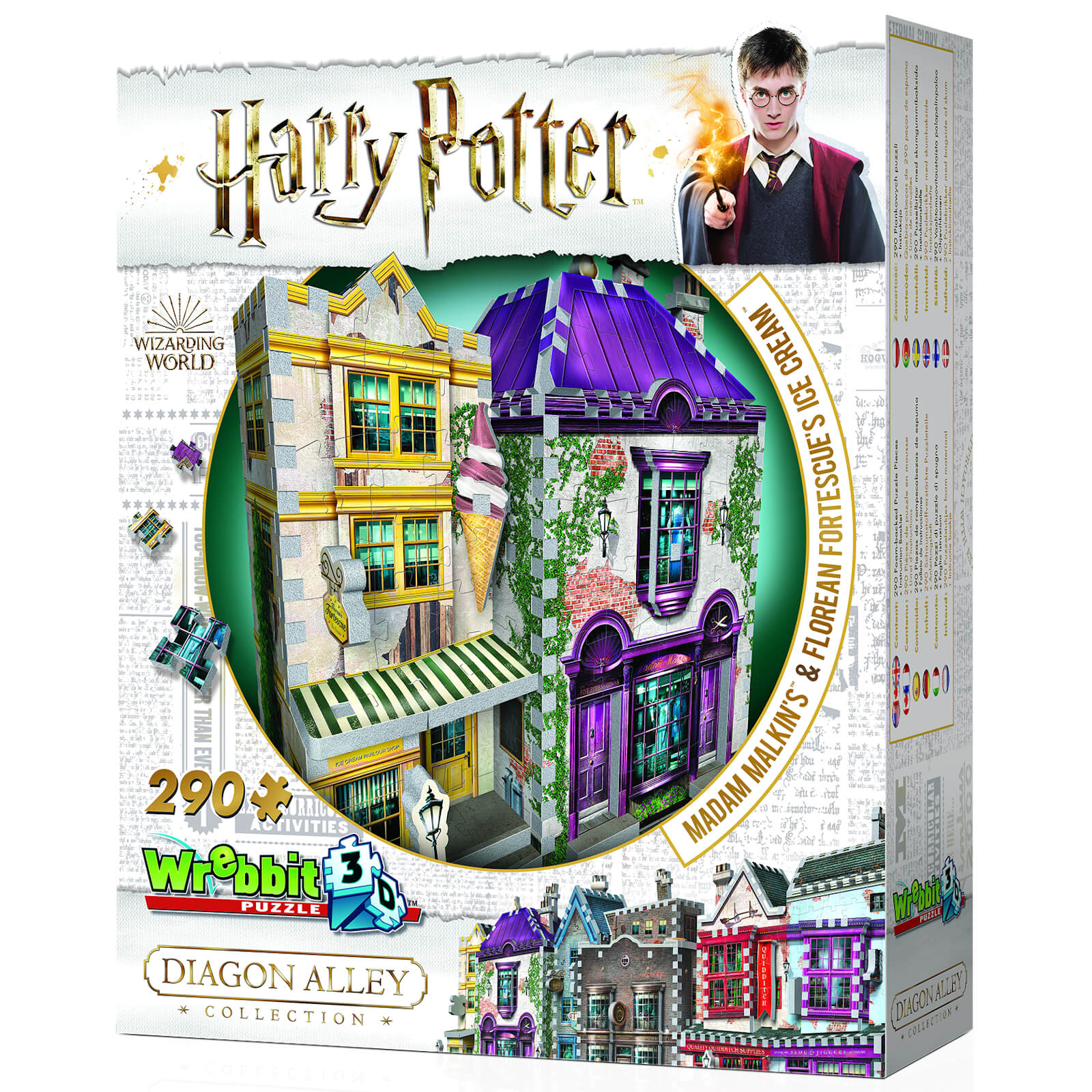 Image of Harry Potter Diagon Alley Collection Madam Malkins & Florean Fortescues 3D Puzzle (290 Pieces)