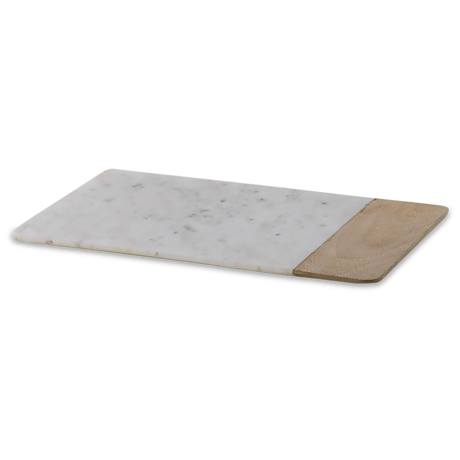 Nkuku Bwari Long Marble and Mango Wood Chopping Board - Large - White