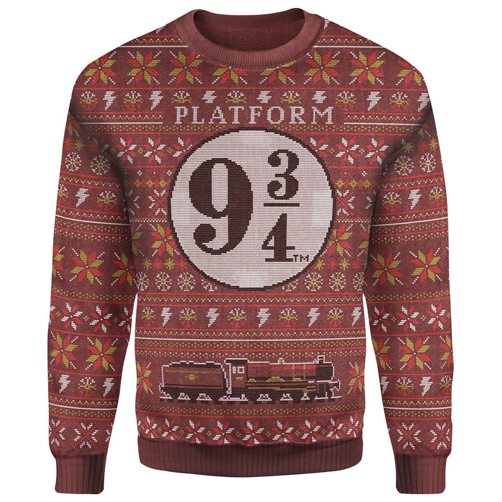 Harry Potter Platform 9 3/4 Christmas Knitted Jumper   Burgundy   M