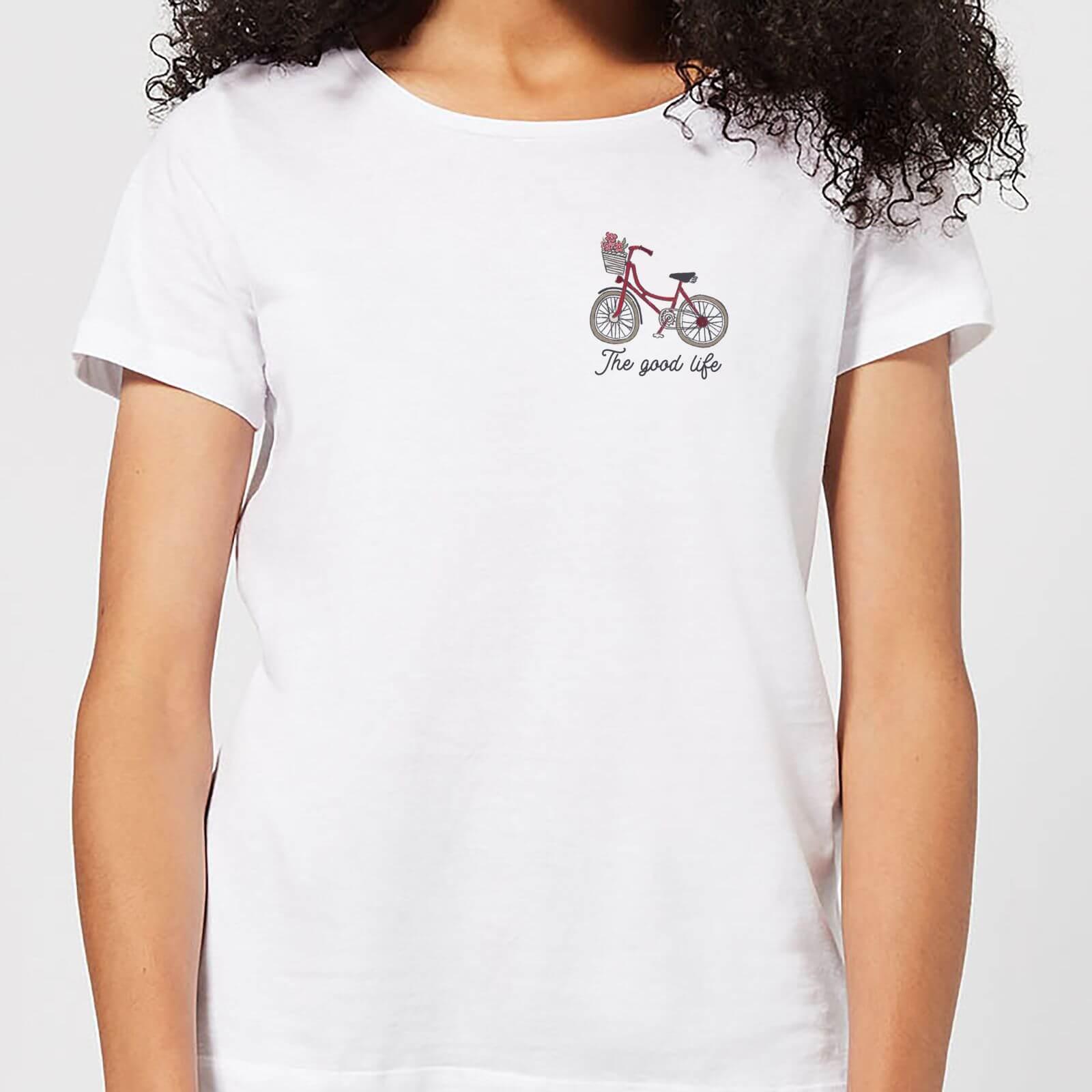 Bicycle The Good Life Pocket Print Womens T Shirt   White   XXL   White