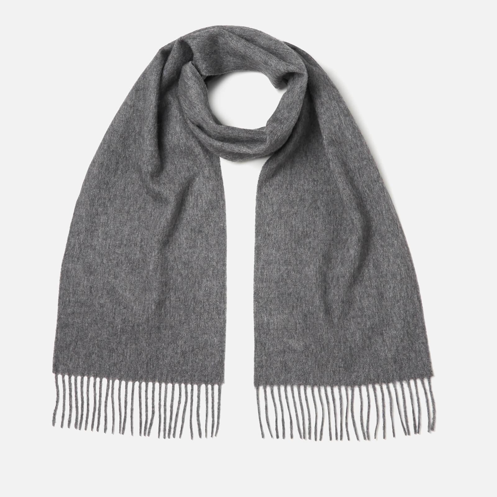 barbour women's lambswool woven scarf - mid grey