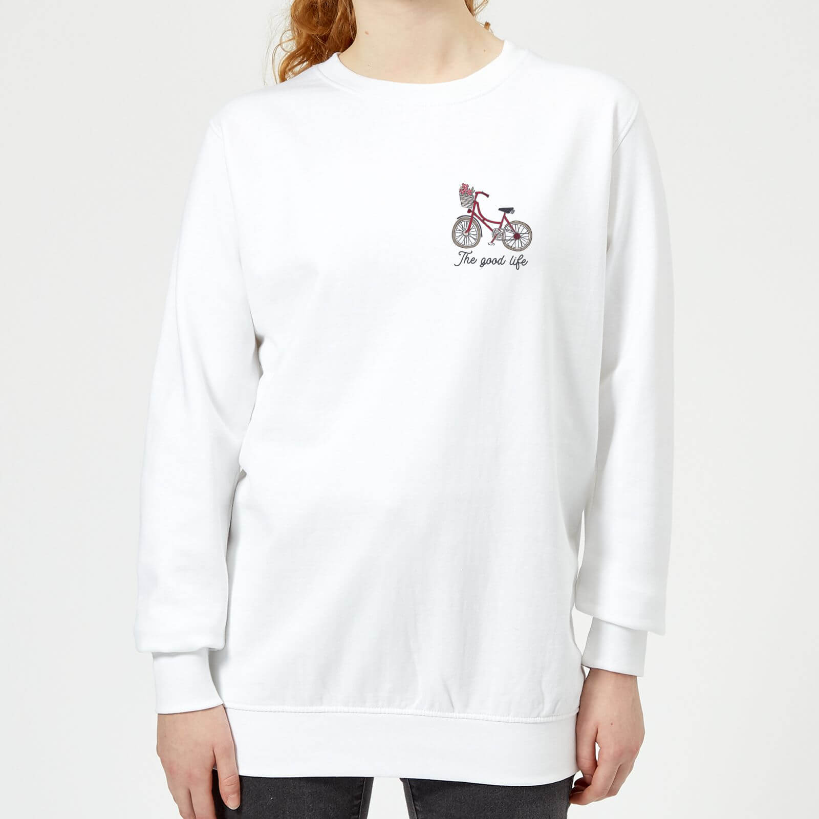 Bicycle The Good Life Pocket Print Womens Sweatshirt   White   XXL   White