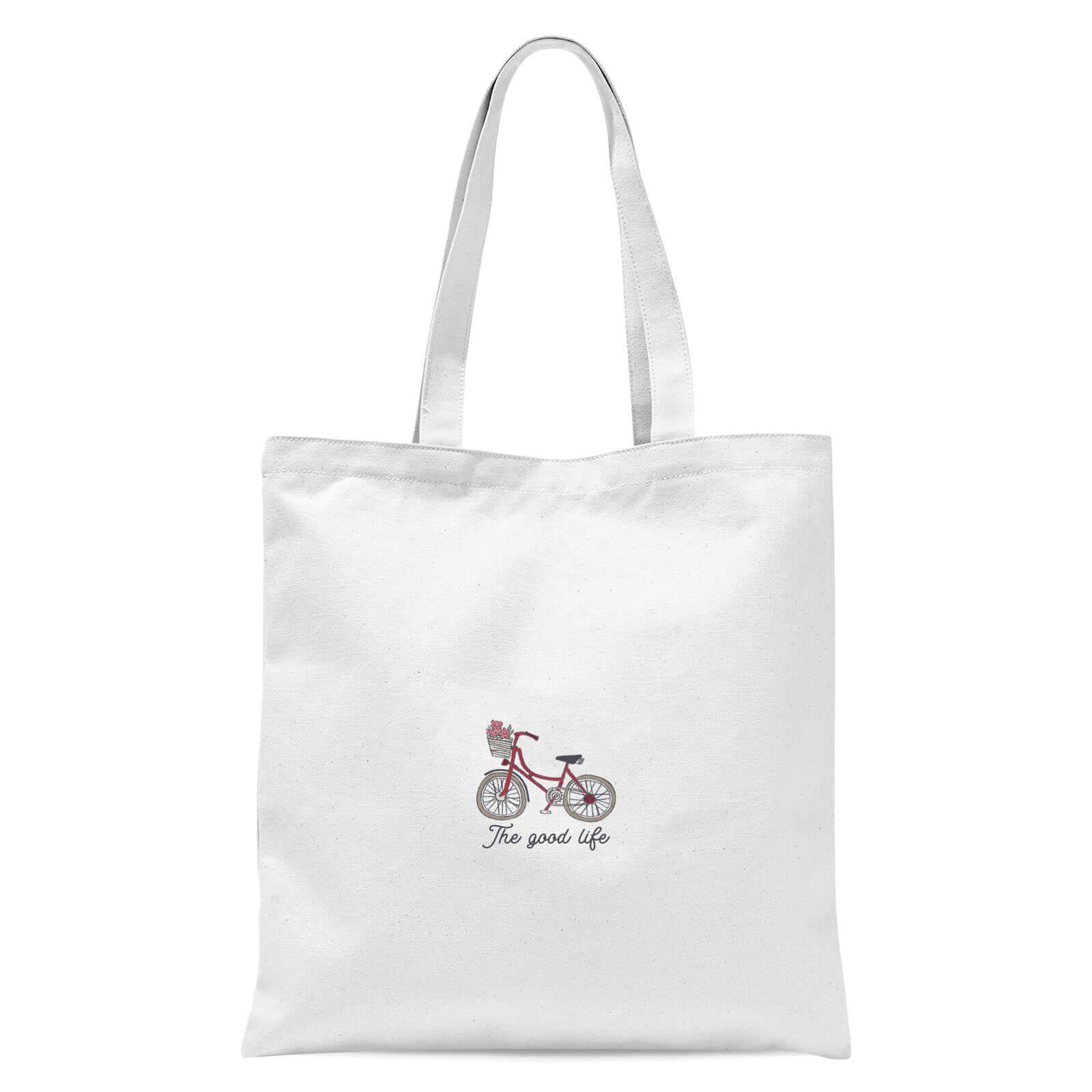 Bicycle The Good Life Pocket Print Tote Bag   White