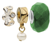 Amadora Crystal and Pearl Pack of Three Charms Set - One Size - Silver