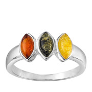 Triple Colour Amber Oval Stone Ring - J