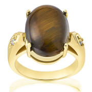 Gold Plated Genuine Oval Tiger Eye Ring - O