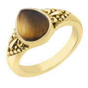 Gold Plated Pear Shaped Tiger Eye Ring - R