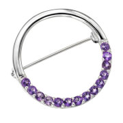 Silver Plated Circle Design Amethyst Pin - One Size