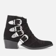 Toga Pulla Women's Buckle Side Suede Heeled Ankle Boots - Black - UK 3/EU 36 - Black