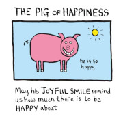 Impression Édition Limitée Pig of Happiness - Edward Monkton