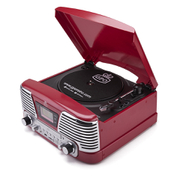 GPO Retro Memphis Turntable 4in1 Music System with Built in CD and FM Radio  Red
