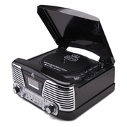 GPO Retro Memphis Turntable 4in1 Music System with Built in CD and FM Radio  Black