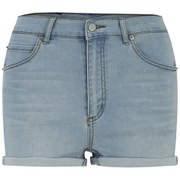 Cheap Monday Women's 'Short Skin' High-Waist Denim Shorts - Hydro Blue - W28 - Salescache