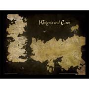 Affiche Encadrée Carte Antique Westeros et Essos Game of Thrones