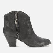 Ash Women's Jess Reverse Broken Suede Heeled Ankle Boots - Black