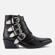 Toga Pulla Women's Buckle Side Leather Heeled Ankle Boots - Black Leather - UK 3/EU 36 - Black