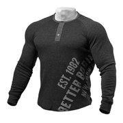 Better Bodies Long Sleeve Henley - Antracite Melange