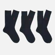 Polo Ralph Lauren Men's Egyptian Cotton Ribbed Socks (3 Pack) - Navy