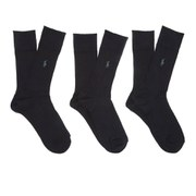 Polo Ralph Lauren Mens Egyptian Cotton Ribbed Socks (3 Pack)  Black  EU 3942UK 68