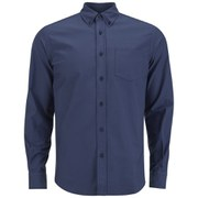 Tripl Stitched Men's Oxford Long Sleeve Shirt - Navy