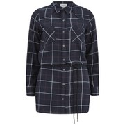 Vero Moda Women's Jannet Check Long Line Shirt - Black Iris