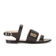 HUGO Women's Plenn Triple Strap Leather Sandals - Black