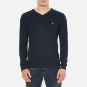 Tommy Hilfiger Men's V Neck Basic Jumper - Navy
