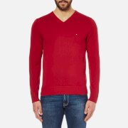 Tommy Hilfiger Men's V Neck Basic Jumper - Red