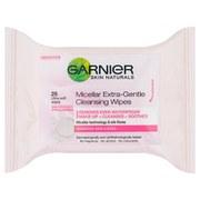 Нежные очищающие салфетки с мицеллярной водой Garnier Skin Naturals Micellar Extra-Gentle Cleansing Wipes (25штук)  - Купить