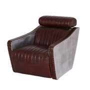 Vintage Aviator One Seater Leather Aluminium Chair with Wooden Frame