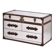 3 Drawer Leather and Aluminium Trunk