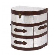2 Drawer Round Leather and Aluminium Trunk