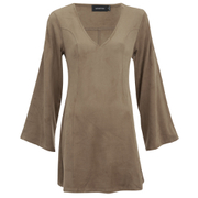 "MINKPINK Women's ""Truth Potion"" Micro Suede Bell Sleeve Shift Dress - Tan"