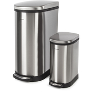 Morphy Richards 977101 Rectangular Pedal Bin Set - Stainless Steel - 40L & 10L