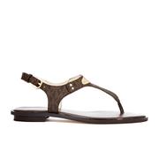 michael michael kors women's mk plate thong flat sandals - brown - uk 4 - brown