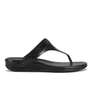 FitFlop Women's Banda Micro-Crystal Leather Toe Post Sandals - All Black