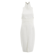 Lavish Alice Women's Cross Strap Tie Detail High Neck Midi Dress - White