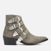 Toga Pulla Women's Buckle Side Suede Heeled Ankle Boots - Khaki Suede - UK 3/EU 36 - Beige