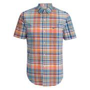 Lacoste Men's Short Sleeve Checked Shirt - Papaya