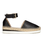 See By Chloé Women's Leather Espadrille Flat Sandals - Black